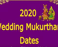 2020 Wedding Mukurtham Dates